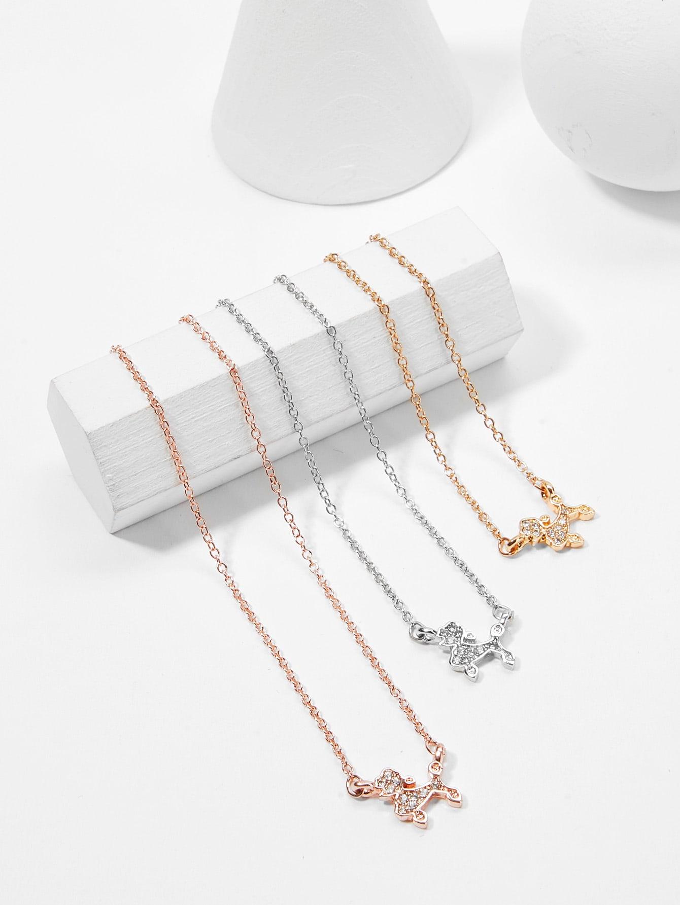 Rhinestone Dog Pendant Necklace Set 3pcs hollow heart pendant necklace set 3pcs
