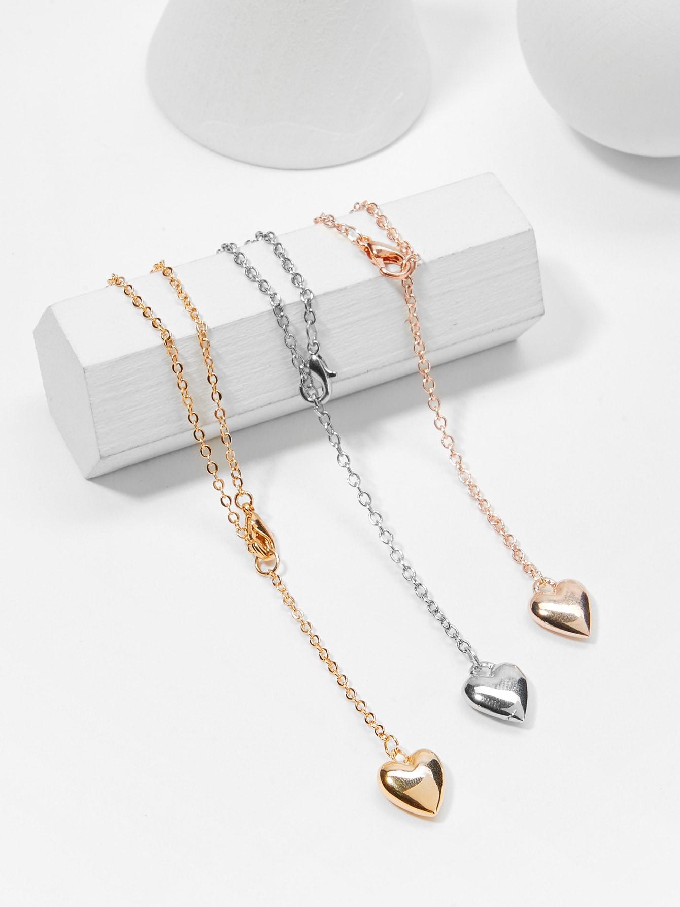 Metal Heart Pendant Necklace Set 3pcs hollow heart pendant necklace set 3pcs