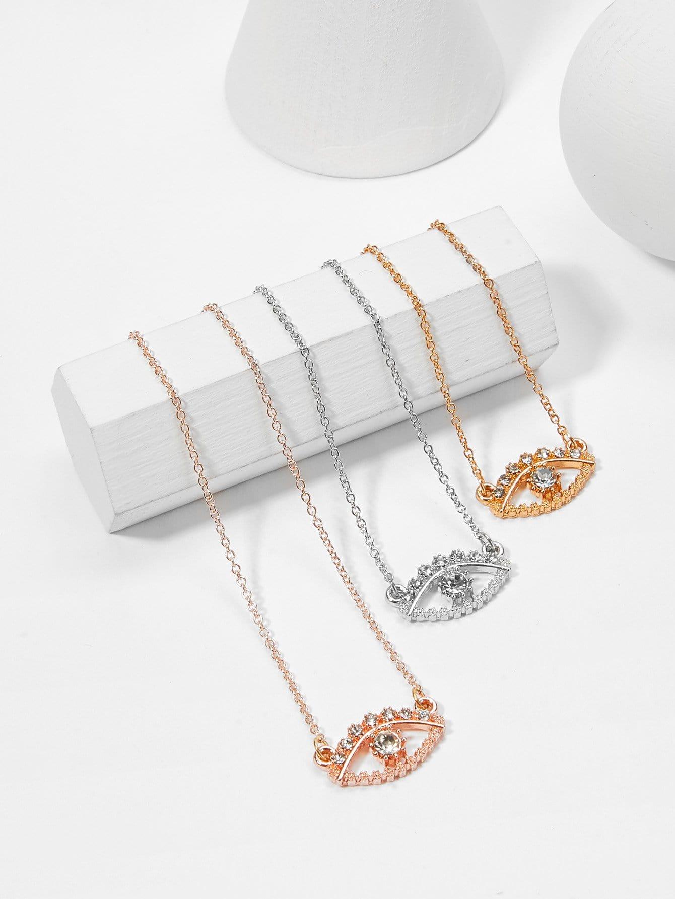 Rhinestone Eye Pendant Chain Necklace Set 3pcs hollow heart pendant necklace set 3pcs