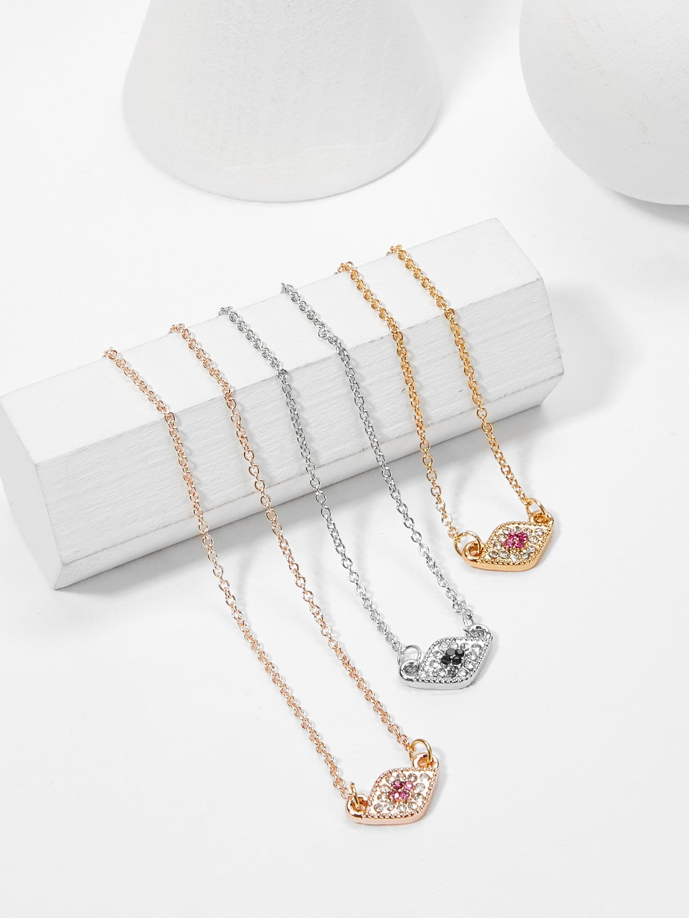Rhinestone Pendant Necklace Set 3pcs hollow heart pendant necklace set 3pcs