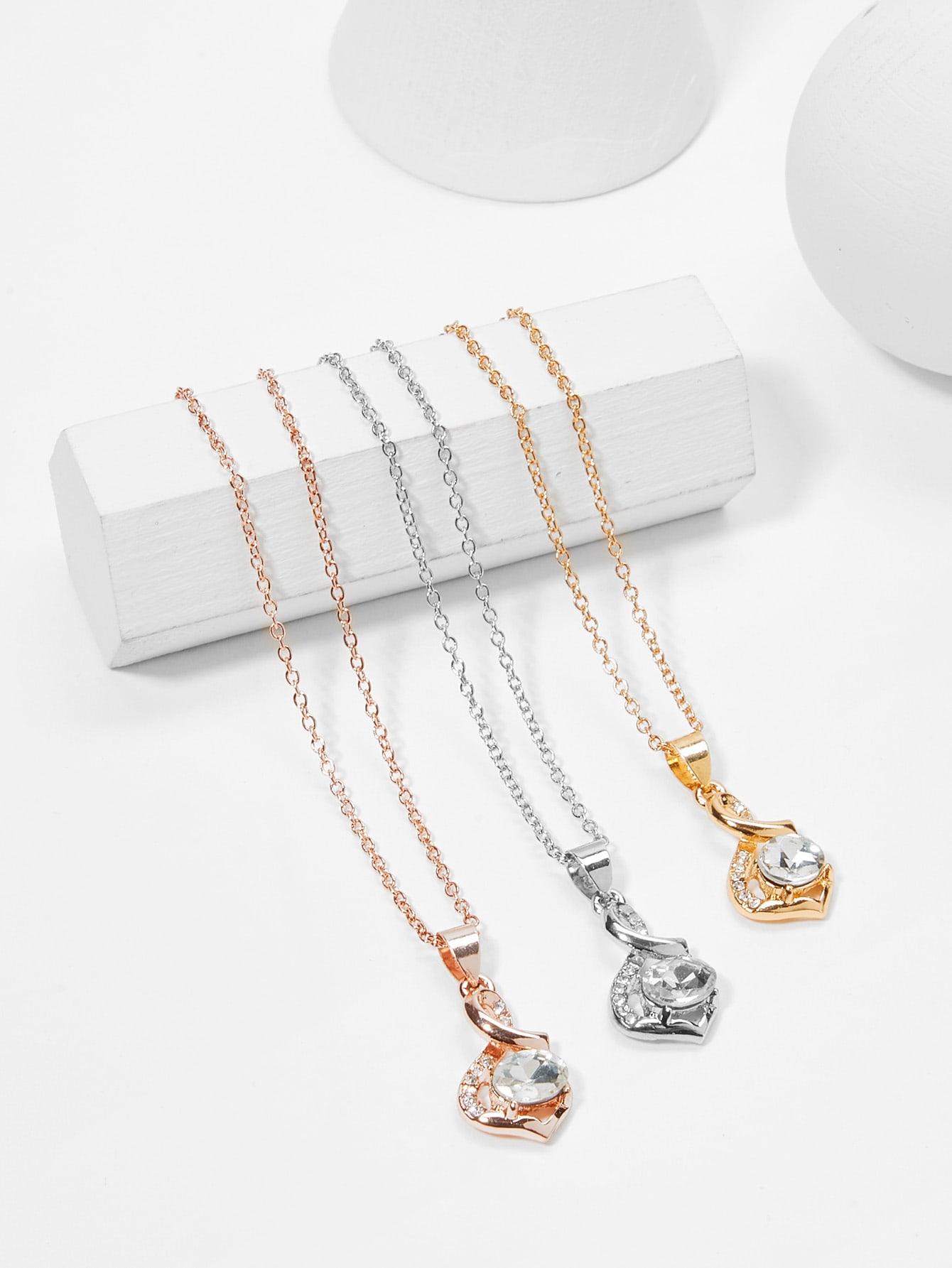 Twist Detail Pendant Necklace Set 3pcs hollow heart pendant necklace set 3pcs