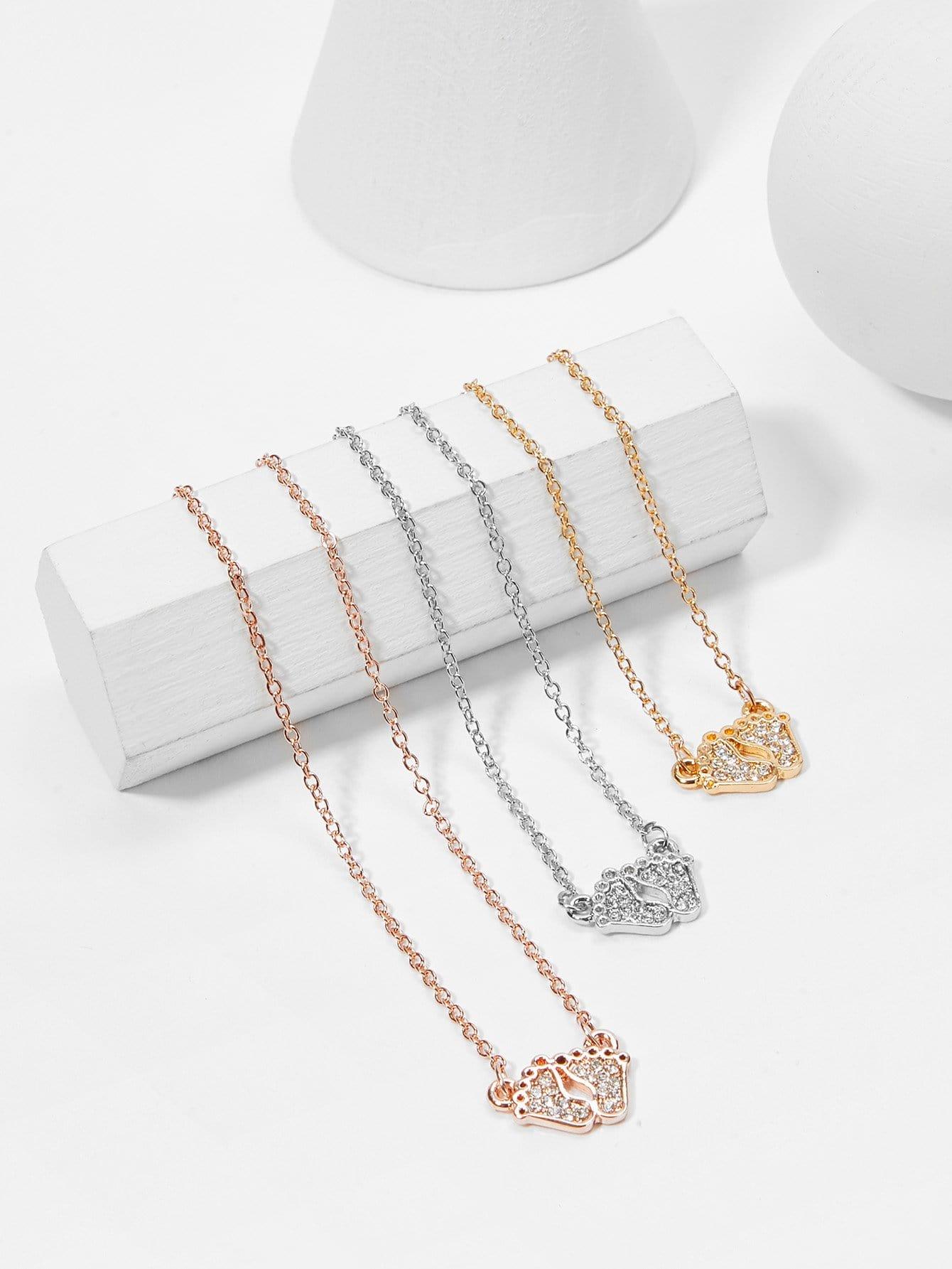 Footprint Pendant Chain Necklace Set 3pcs hollow heart pendant necklace set 3pcs