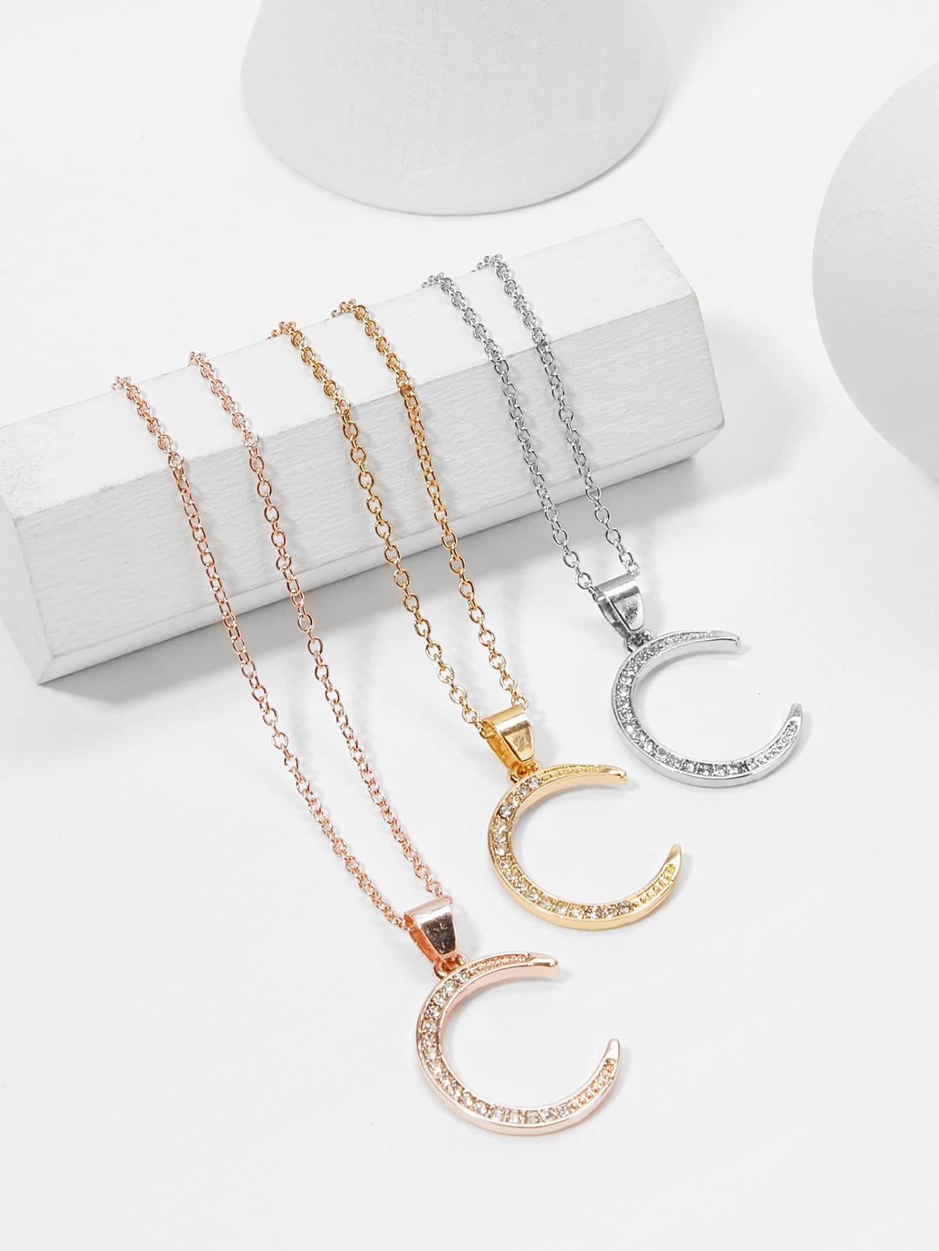 Rhinestone Moon Pendant Necklace Set 3pcs hollow heart pendant necklace set 3pcs