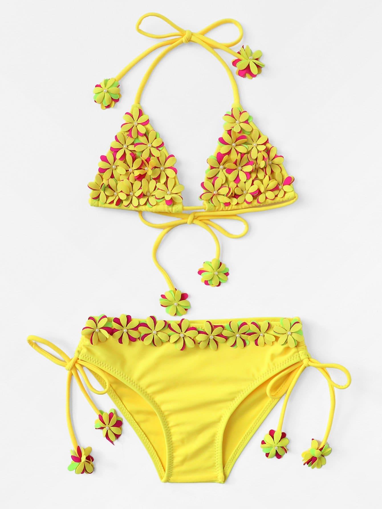 Girls Appliques Self Tie Bikini Set