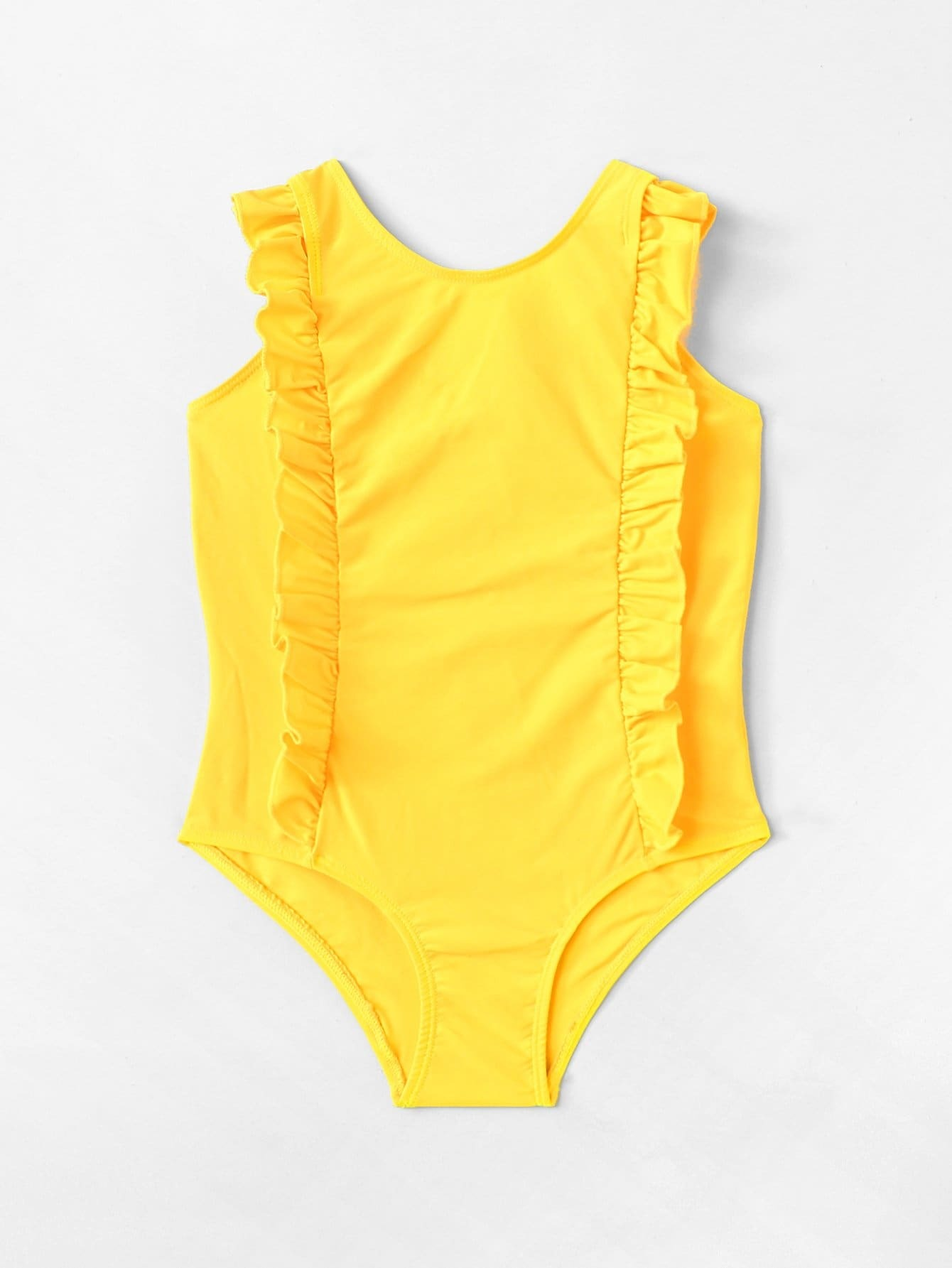 Girls Ruffle Plain Swimsuit