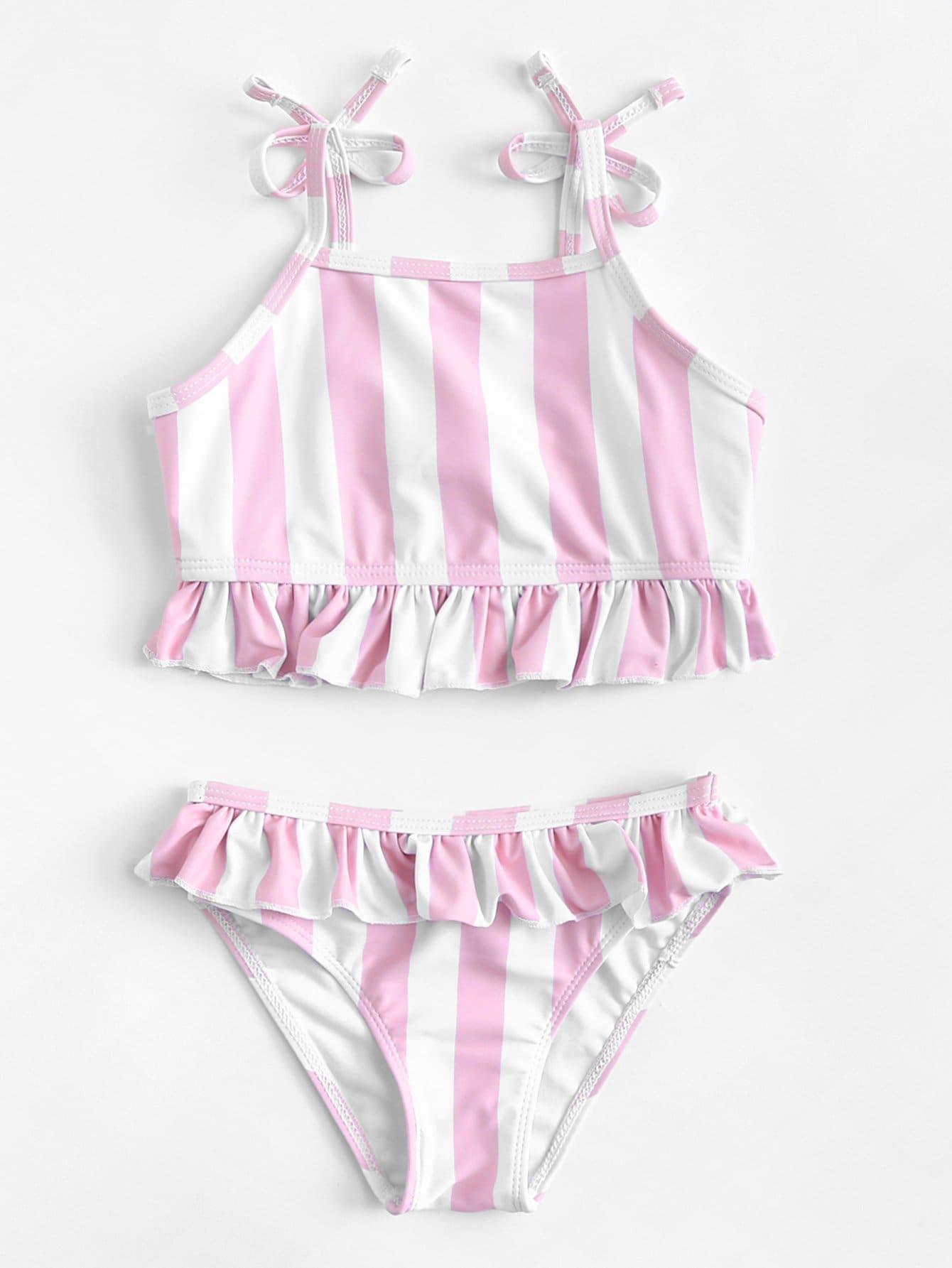 Купить Комплект бикини с полосками и оборками для детей, null, SheIn