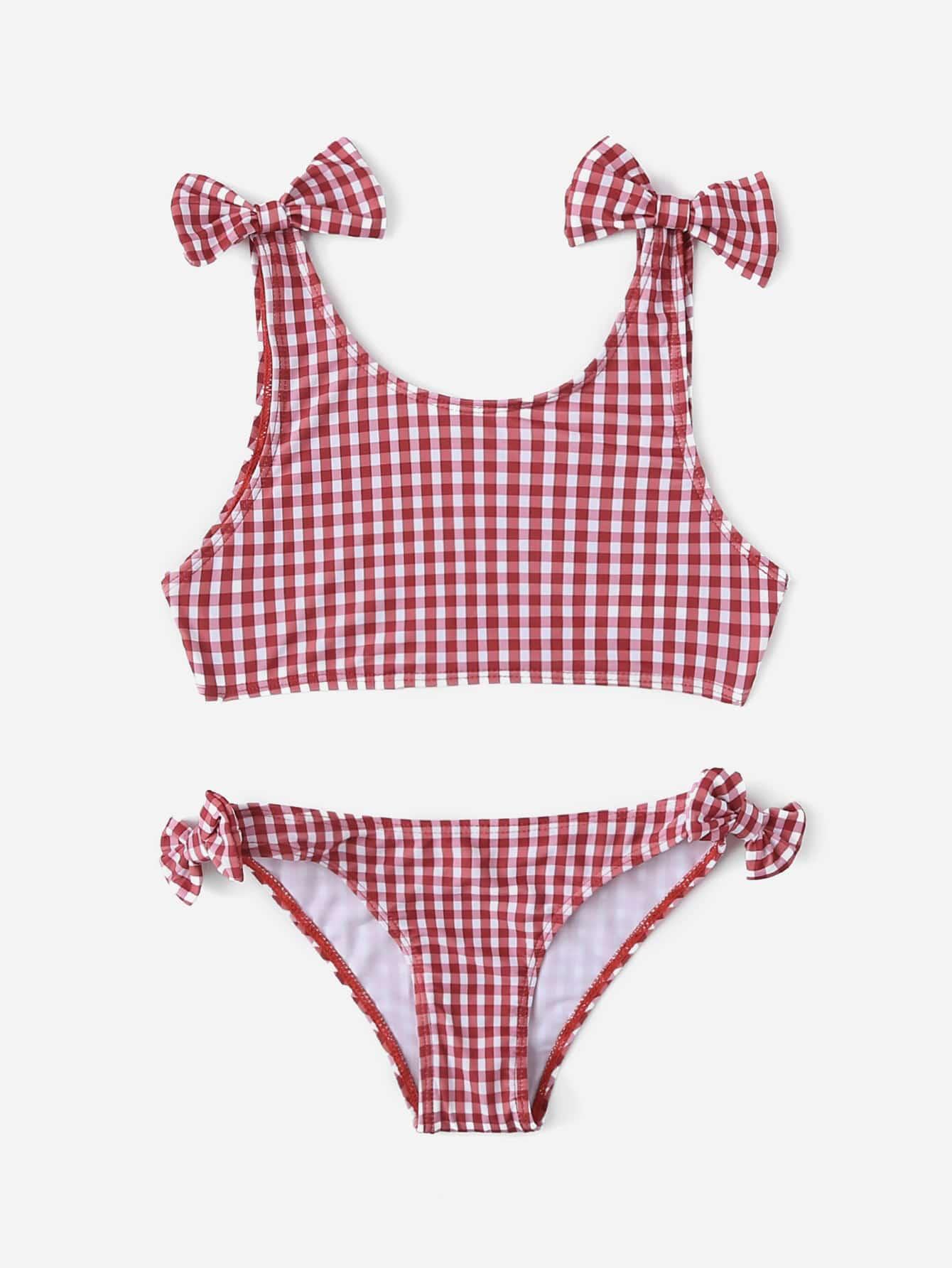 Girls Gingham Bow Detail Bikini Set