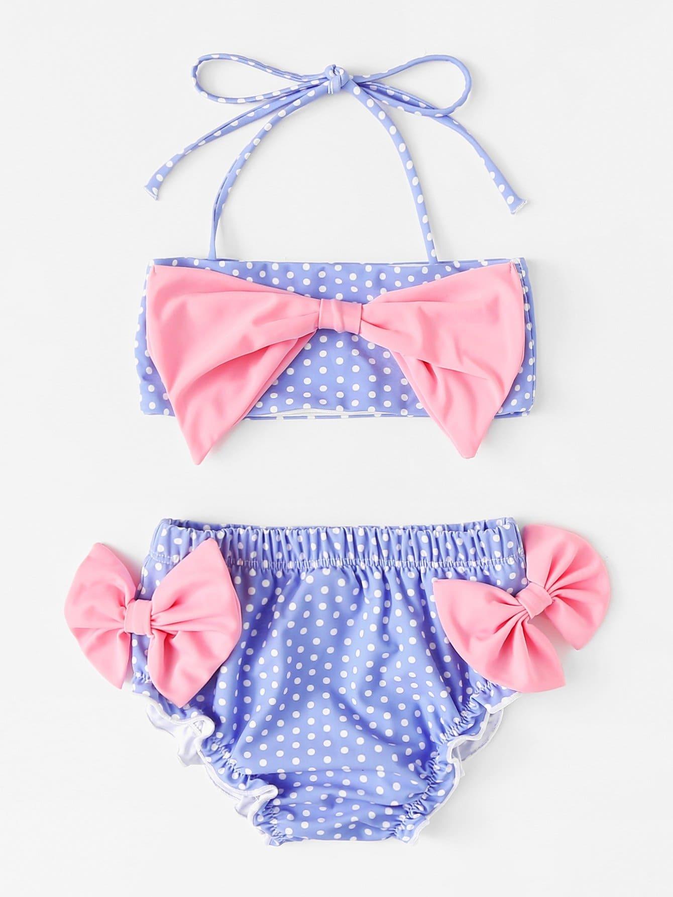 Girls Polka Dot Lettuce Trim Bikini Set