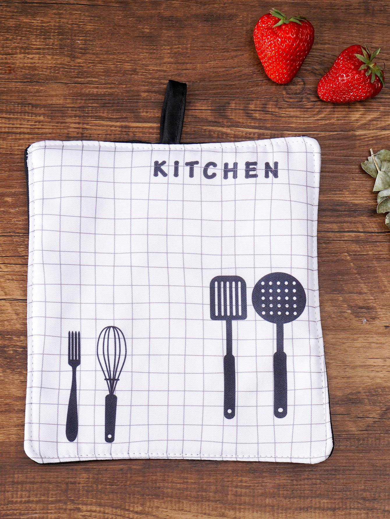 Shovel Print Grid Placemat pot print striped placemat