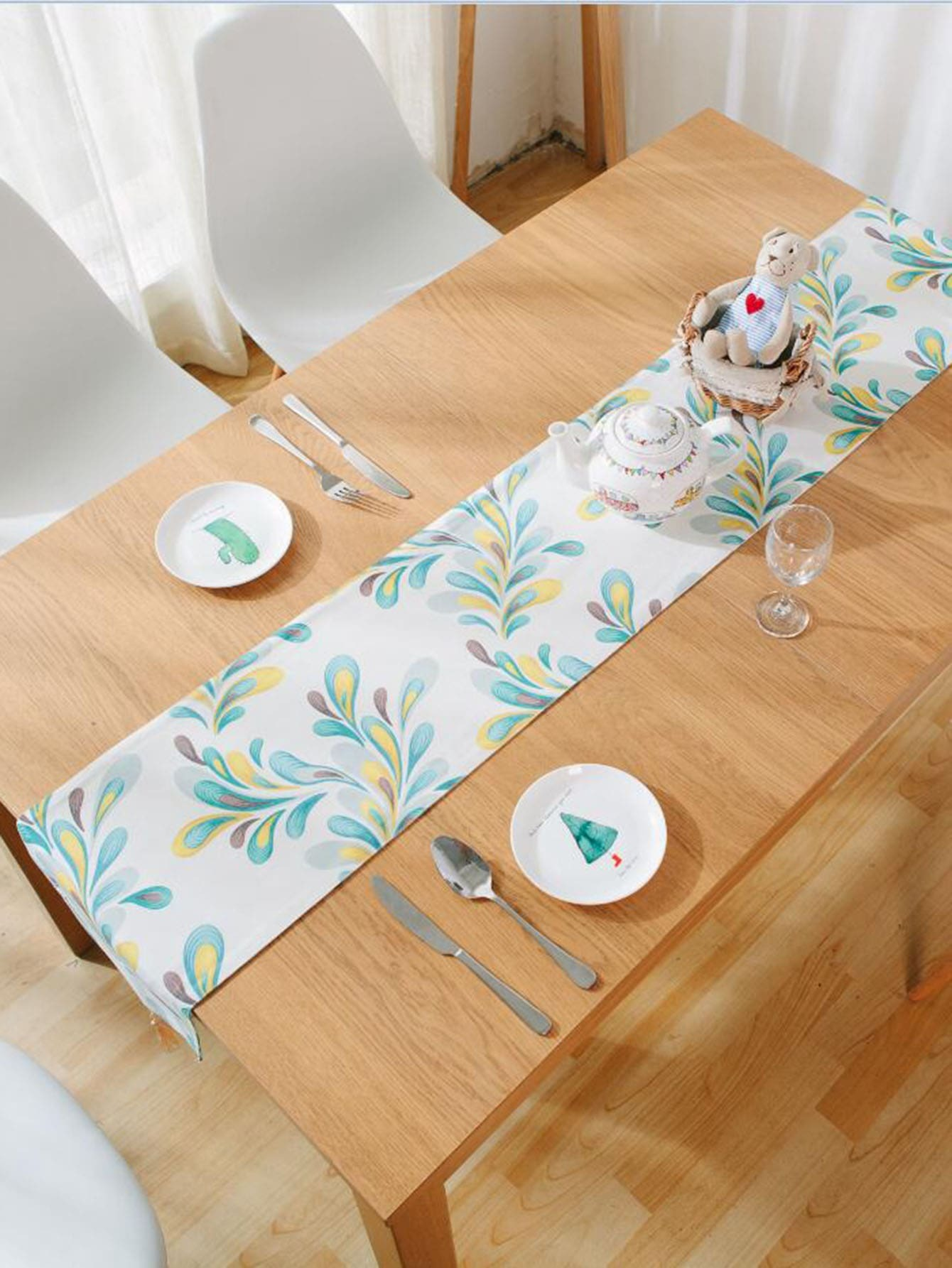Leaf Print Tassel Table Runner leaf print tassel table runner