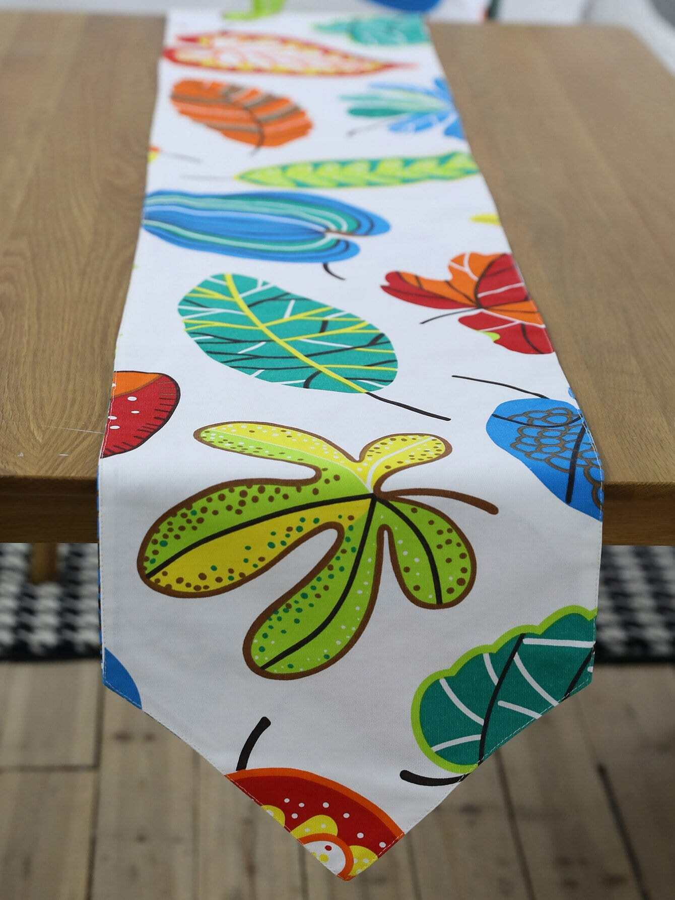 Leaf Print Table Runner leaf print tassel table runner
