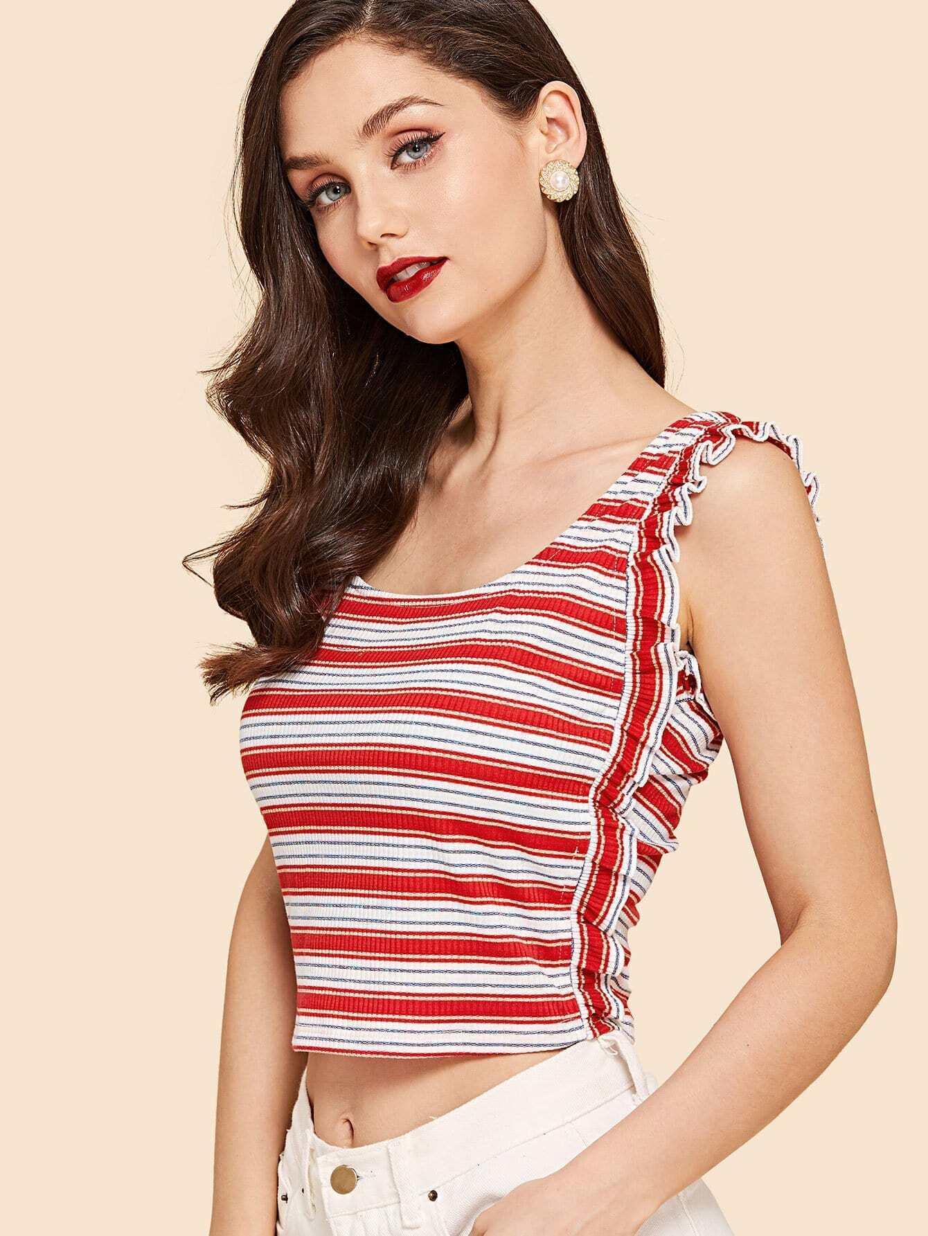 Frill Detail Rib Knit Striped Tank Top striped rib knit top