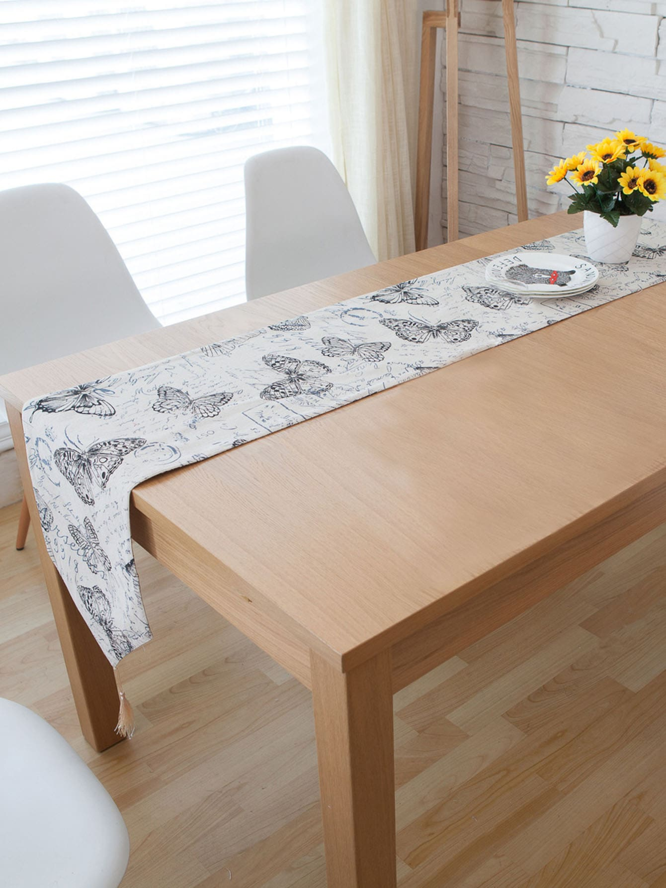 Butterfly Print Table Runner leaf print tassel table runner
