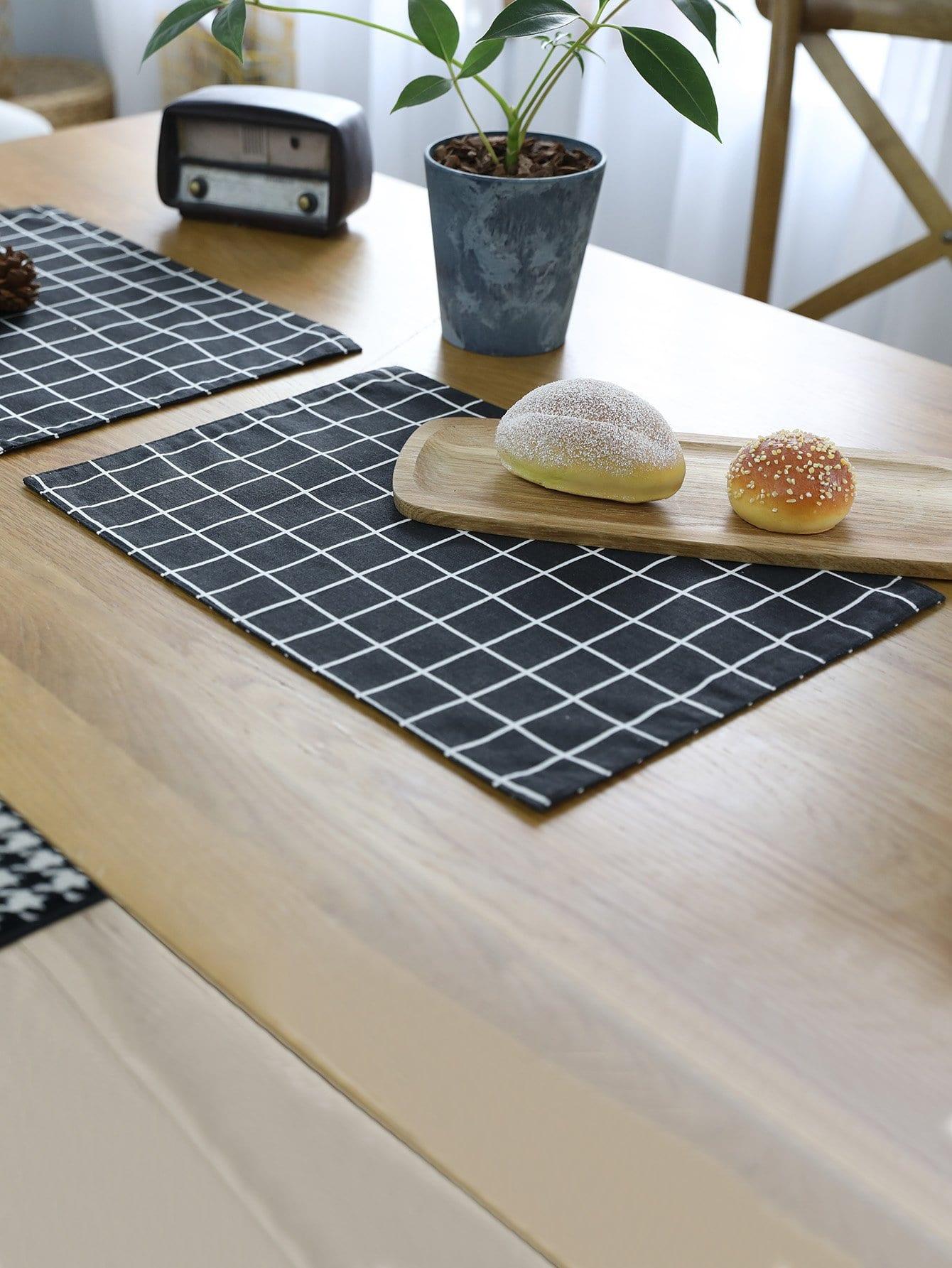 Grid Print Placemat pot print striped placemat