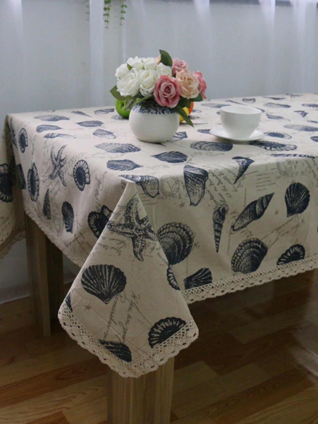 Shell Print Tablecloth 1pair iron shoe rack flip frame 3 layers option black color hidden hinge