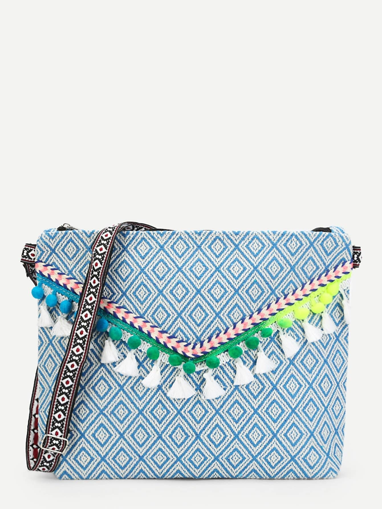 Tassel Detail Flap Shoulder Bag tassel detail pu shoulder bag