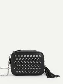 Grommet Design Chain Bag With Tassel