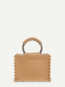 Zigzag Trim PU Shoulder Bag