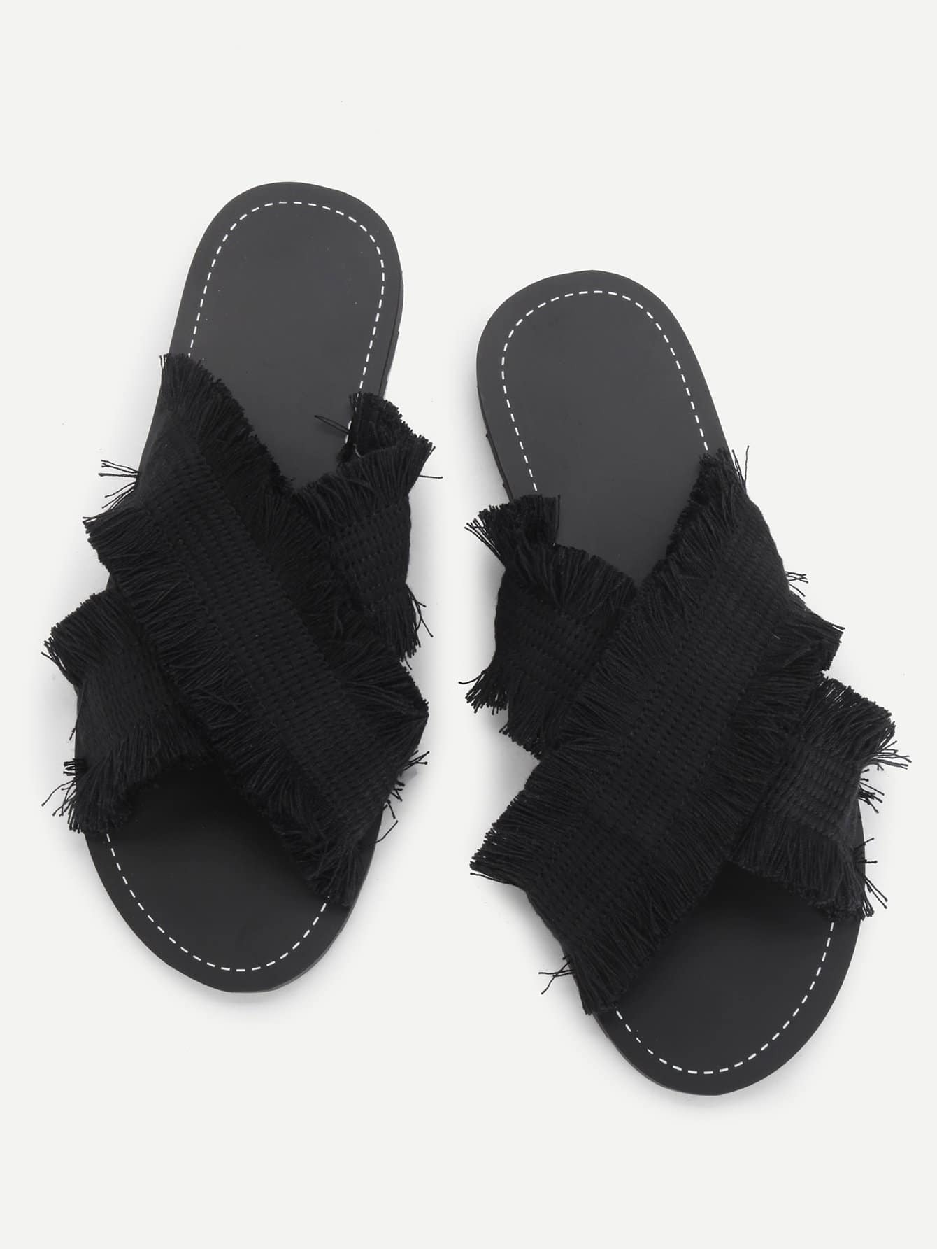цена Raw Trim Criss Cross Flat Slippers