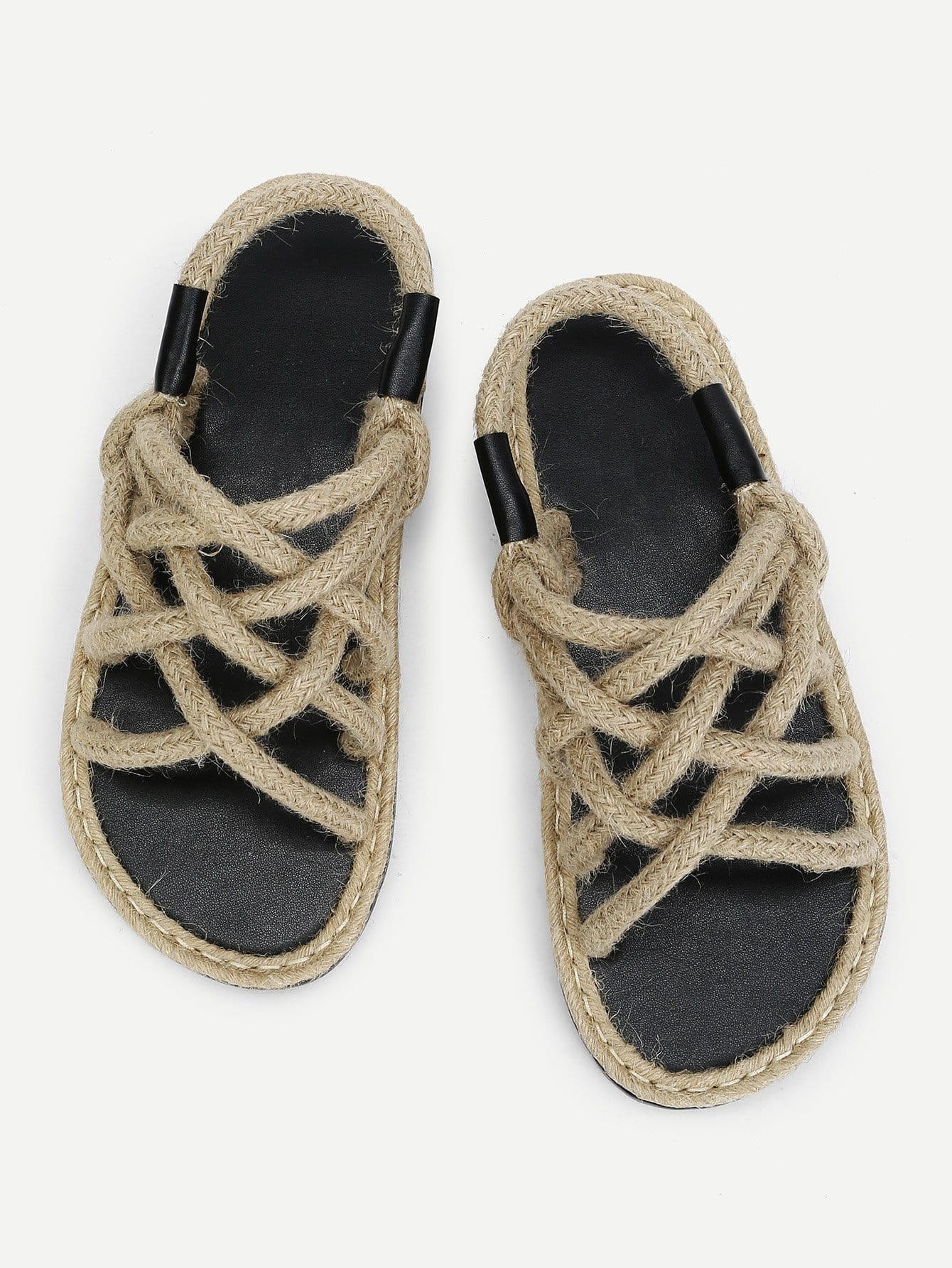 Woven Design Straw Flat Sandals woven design straw flat sandals