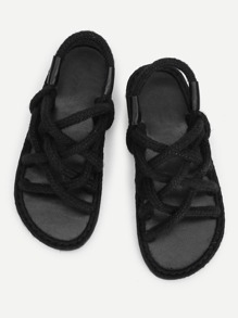 Woven Design Straw Flat Sandals