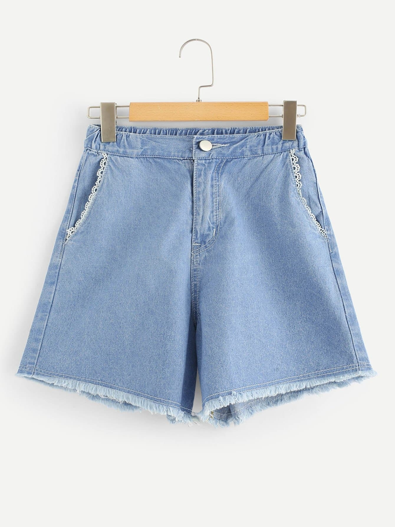 Lace Contrast Frayed Denim Shorts kids contrast lace patchwork denim short