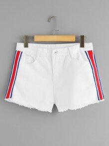 Stripe Contrast Raw Hem Denim Shorts