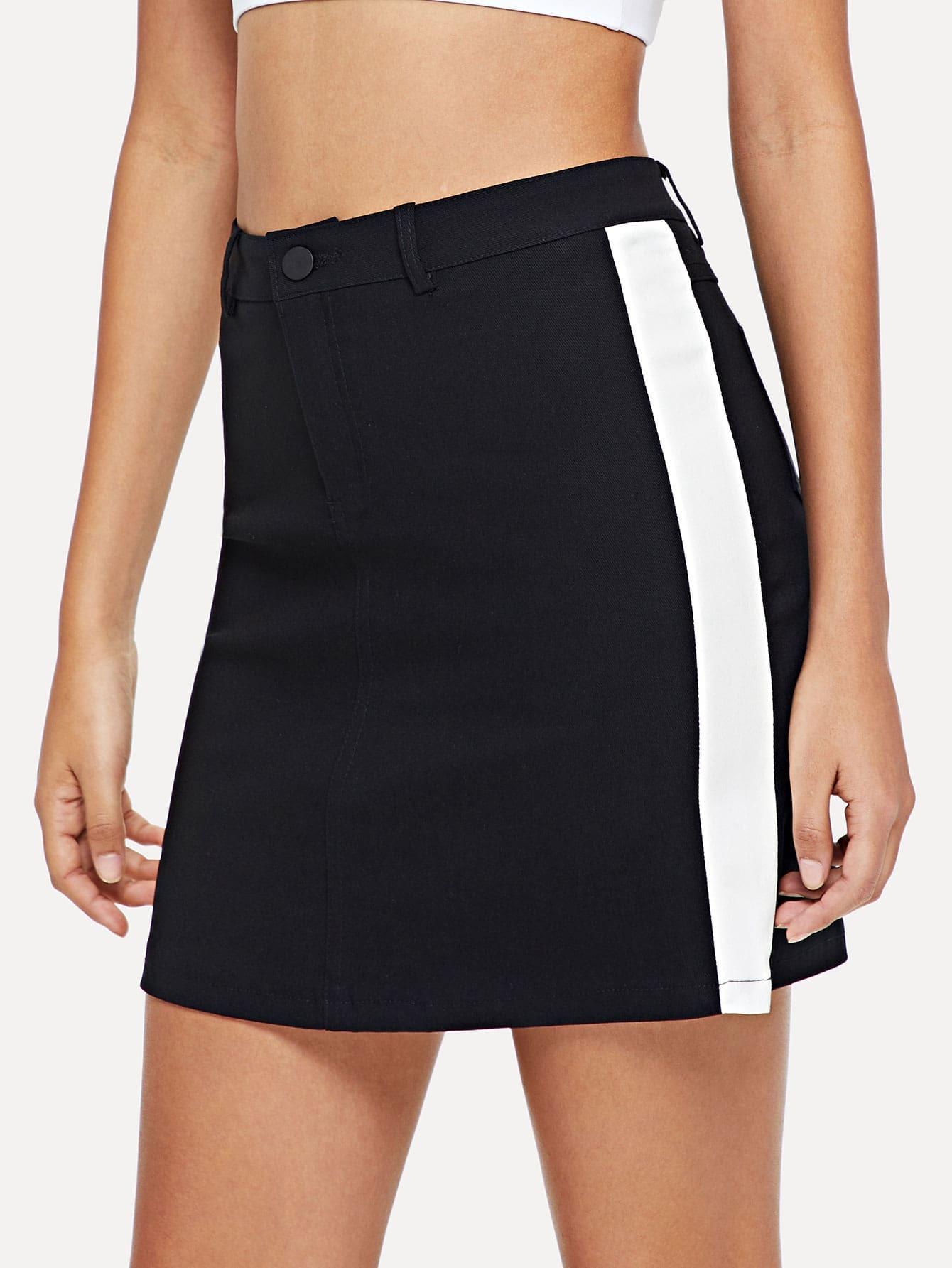 Block Stripe Denim Skirt