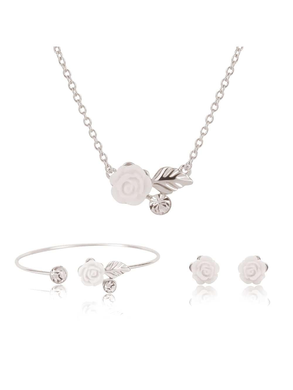 Ohrsteckers mit Blumen, Armreif und Halskette