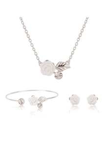 Flower Decorated Stud Earrings & Cuff Bracelet & Necklace Set
