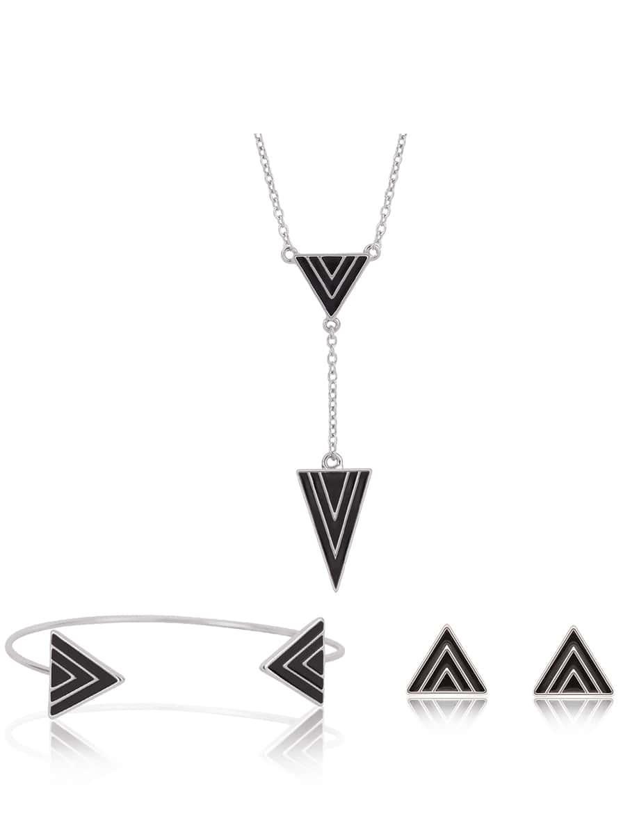 Ohrsteckers mit Dreieck, Armreif und Halskette