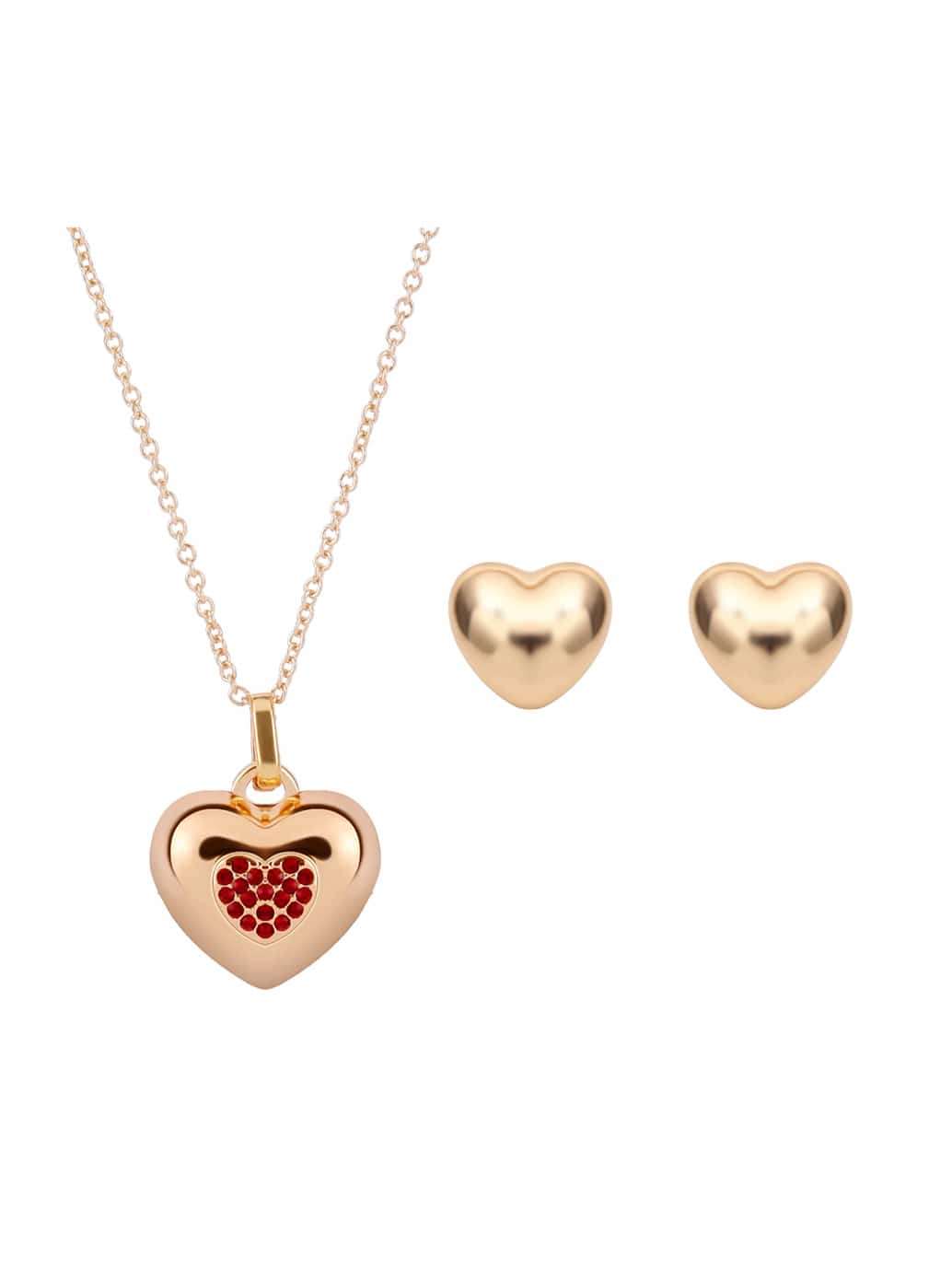 Rhinestone Insert Heart Shaped Necklace & Earrings Set