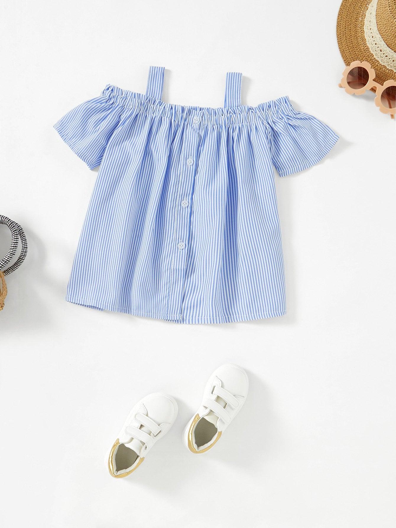 Блузка с открытыми плечами с полосками, null, SheIn  - купить со скидкой
