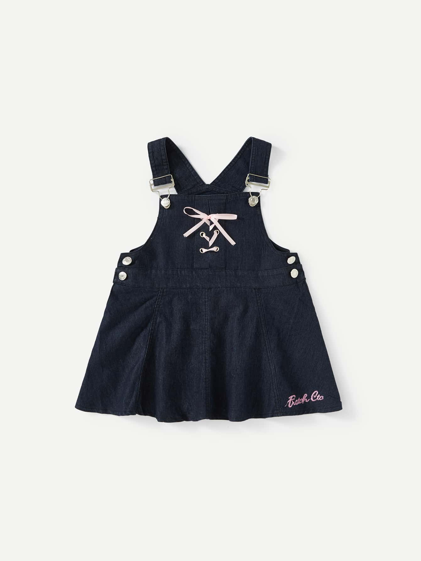 Lace Up Denim Overall Dress overall yumi overall