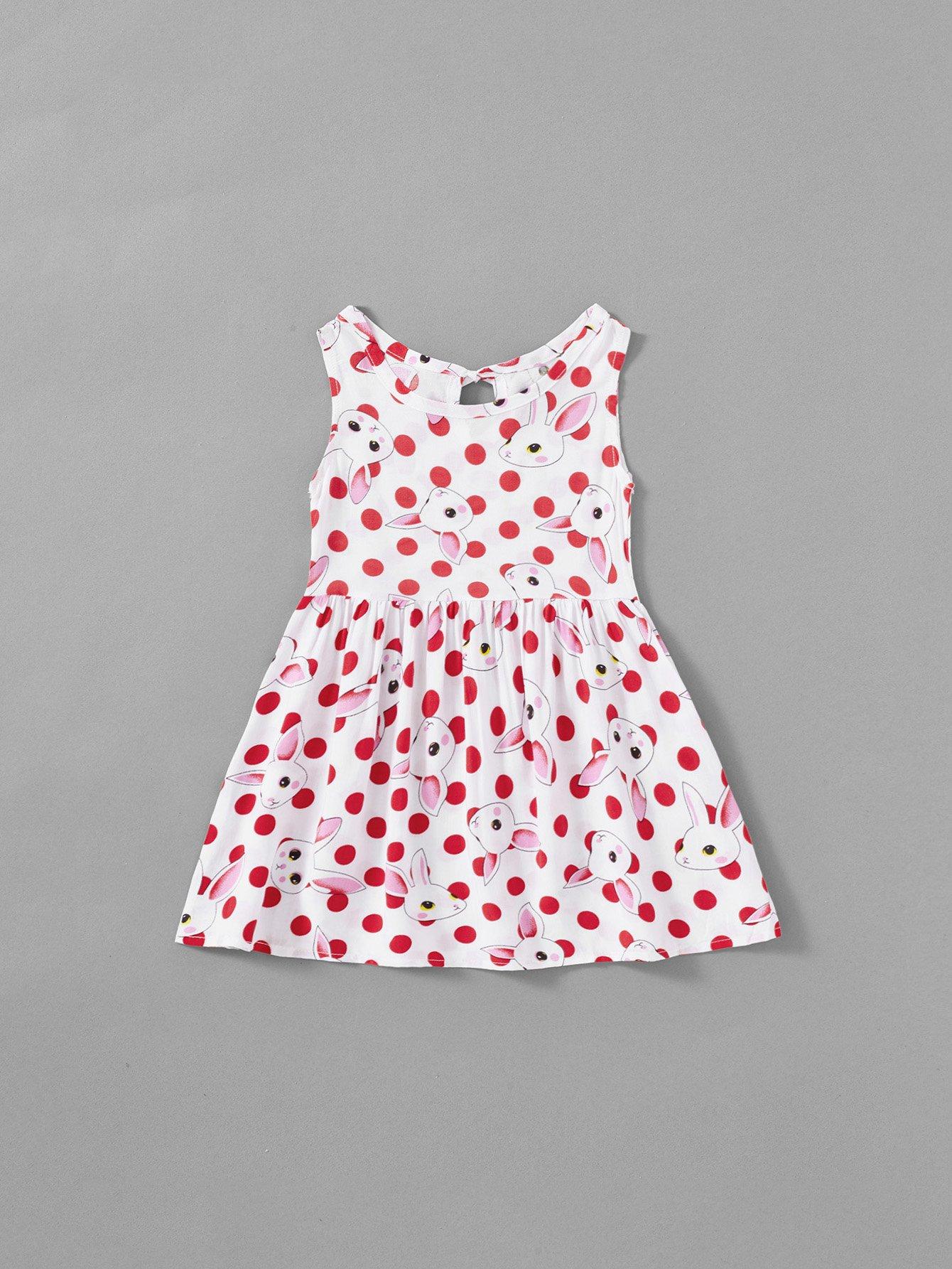 Rabbit Print Polka Dot Tie Back Dress rabbit print polka dot tie back dress