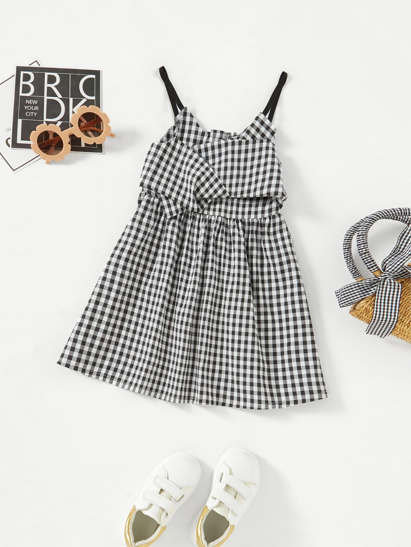 Girls Gingham Bow Decoration Cami Dress 2017 new brand baby girls summer dress kids white bow dress for girls children navy leisure fashion girls clothes