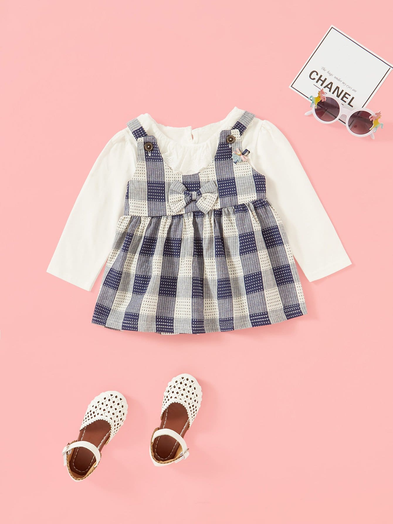 Bow Detail 2 In 1 Dress kids bow detail 2 in 1 dress