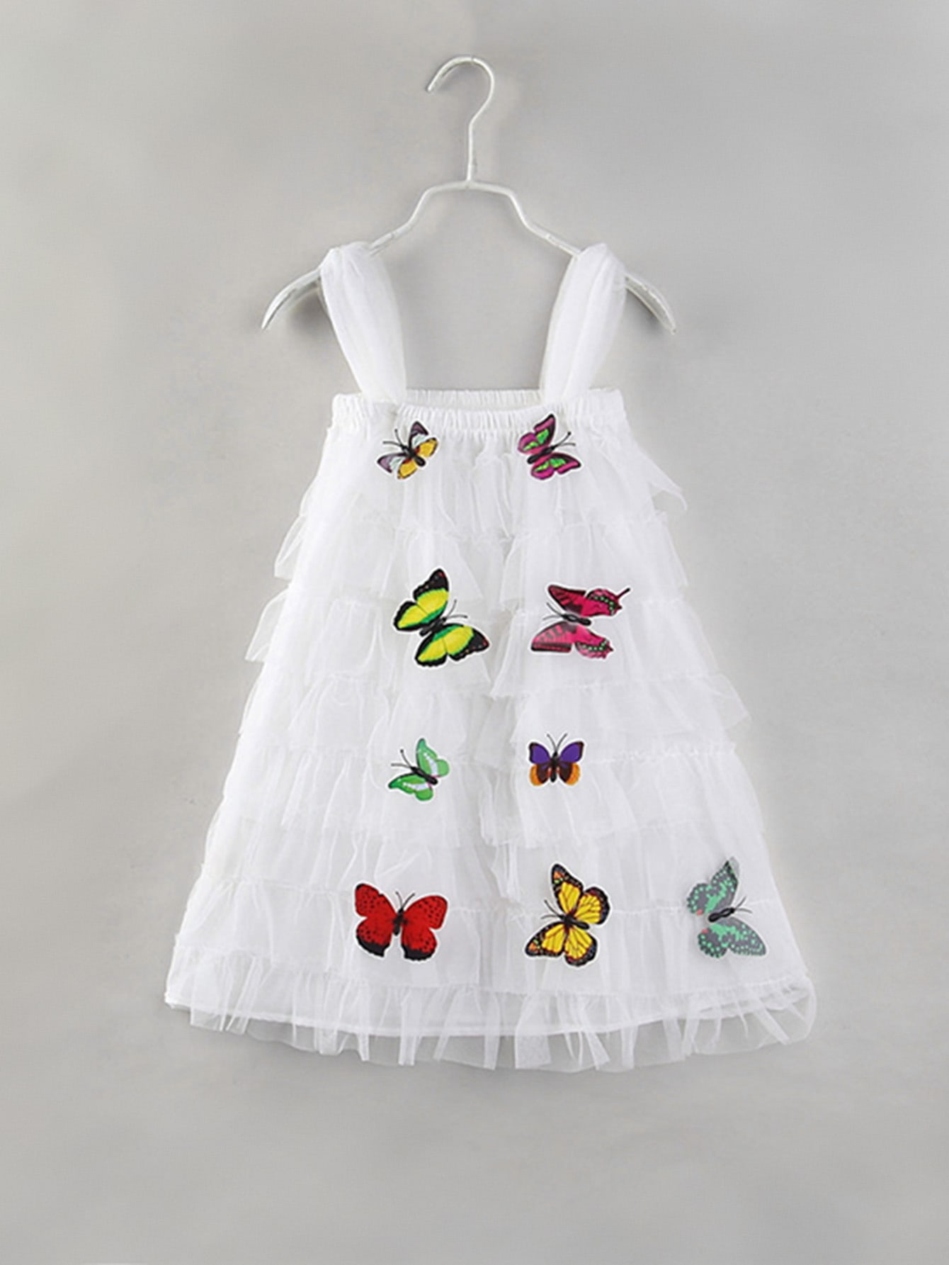 Girls Butterfly Detail Tiered Mesh Dress