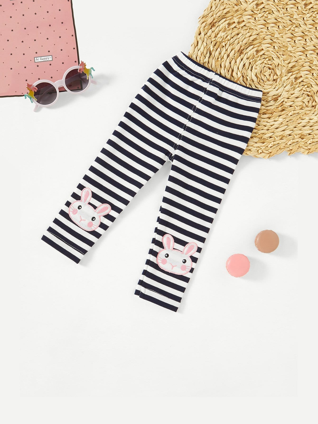 Rabbit Embroidery Striped Leggings rabbit embroidery striped leggings