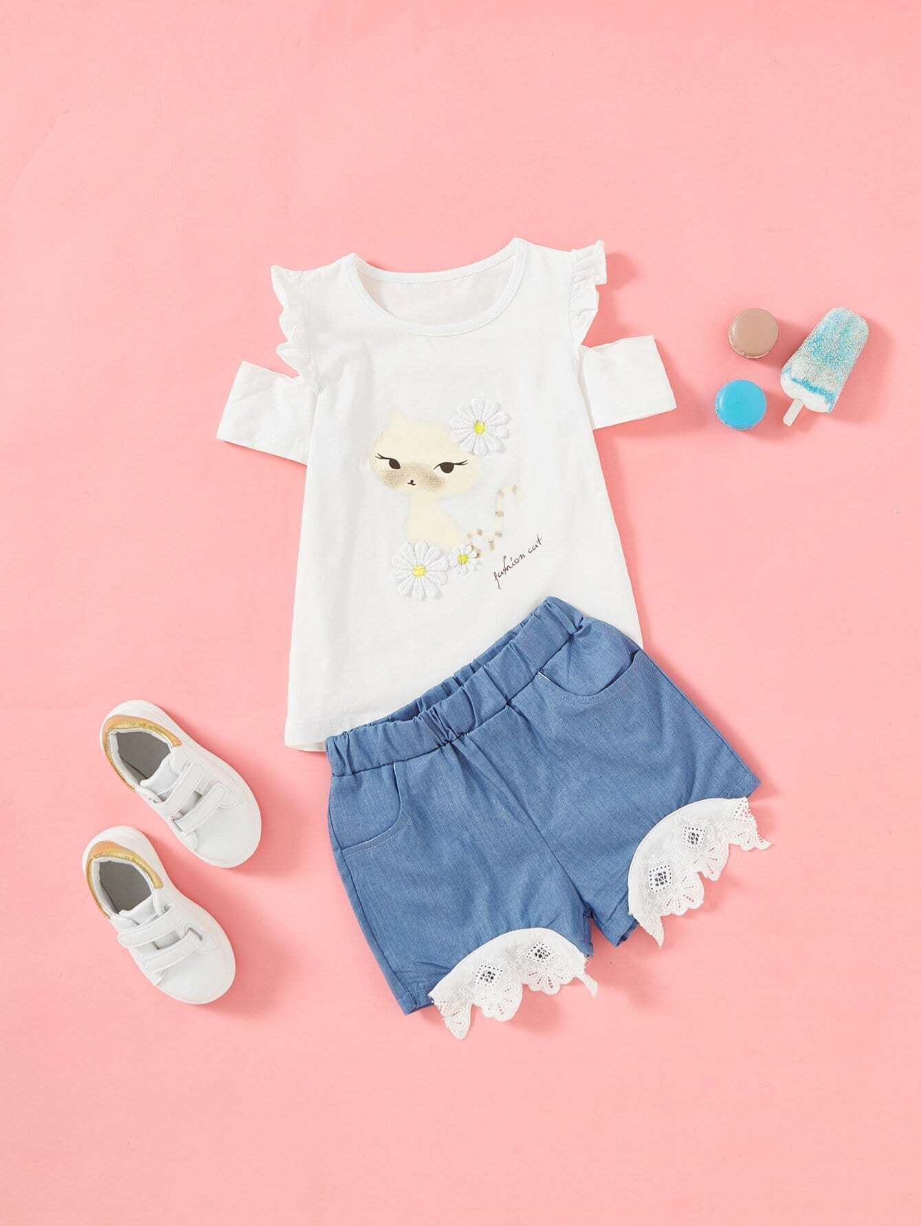 Cat Print Frill Trim Tee With Shorts lace trim tee with shorts