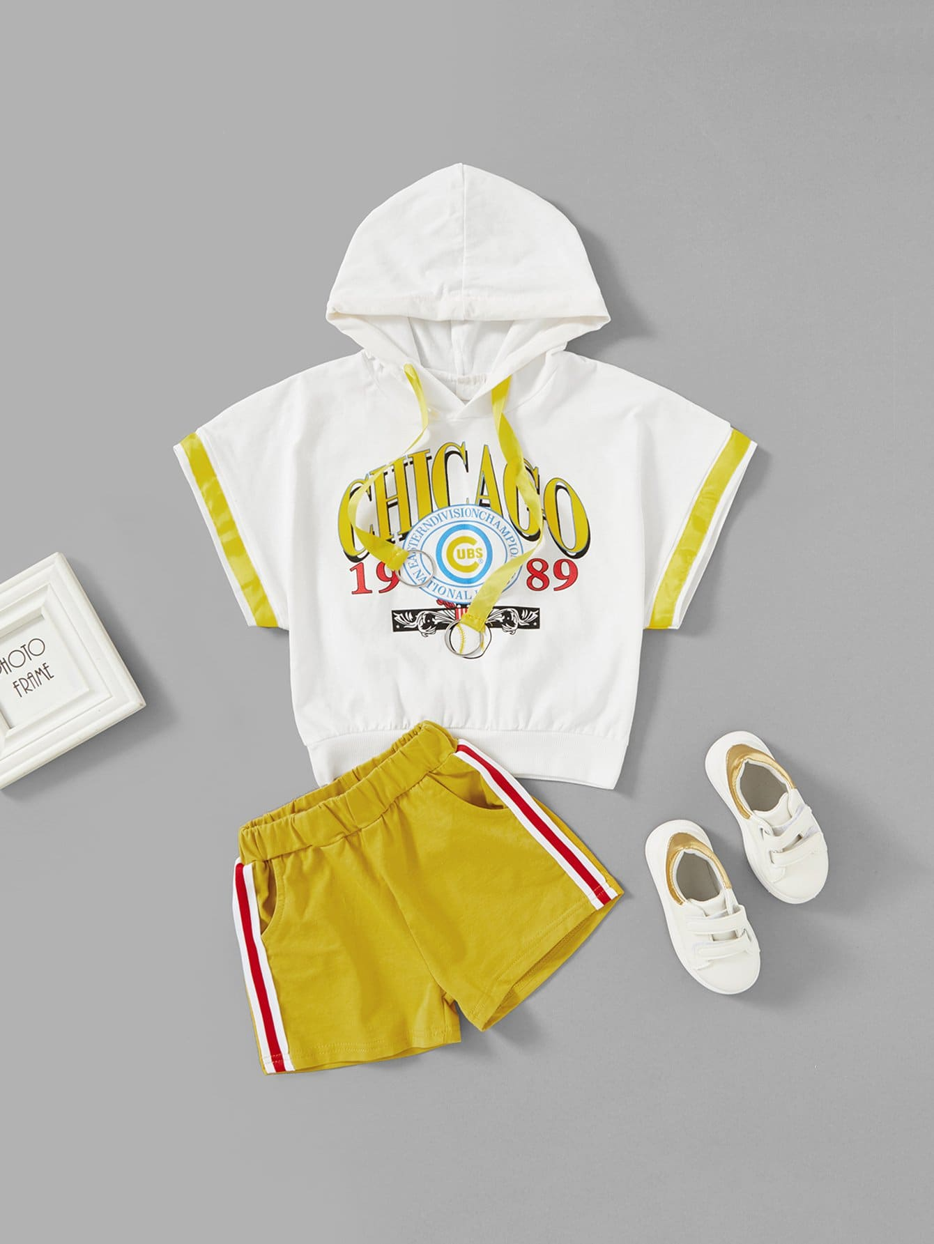 Letter Print Hooded Tee With Shorts letter print hooded tee with shorts