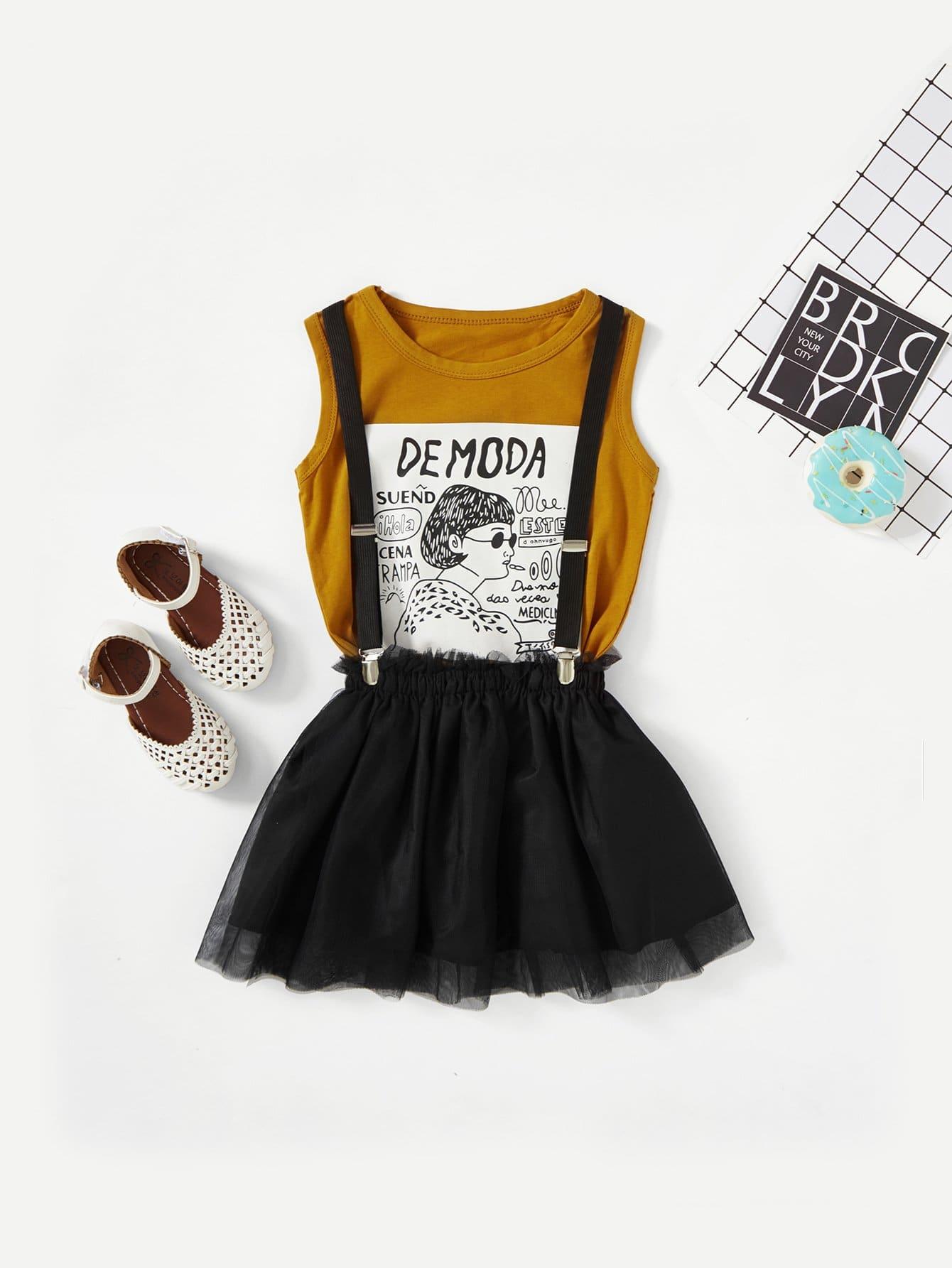T-Shirt mit Abbildungmuster und Rock mit Netzstoff
