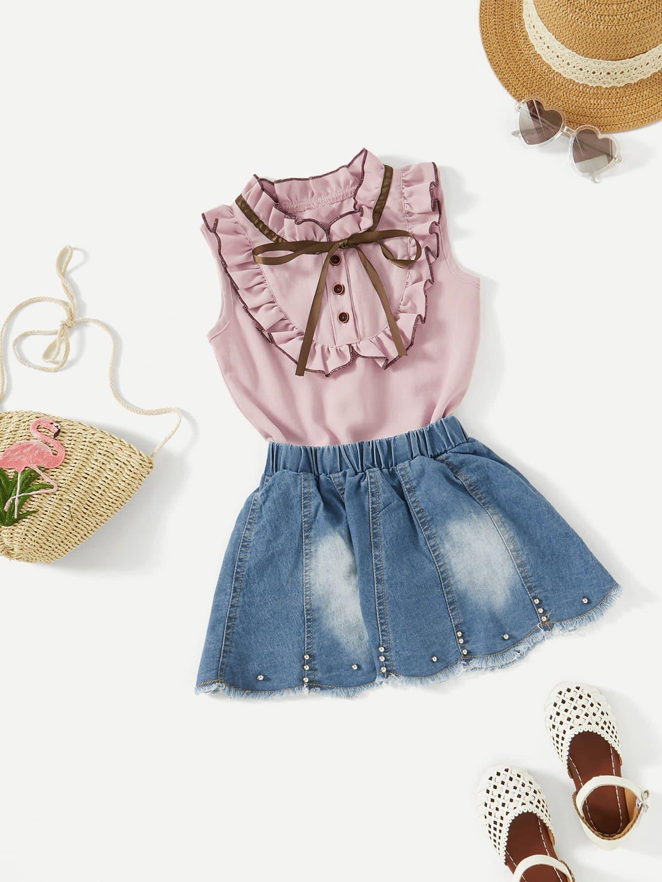 Frill Trim Blouse With Denim Skirt frill trim blouse with denim skirt
