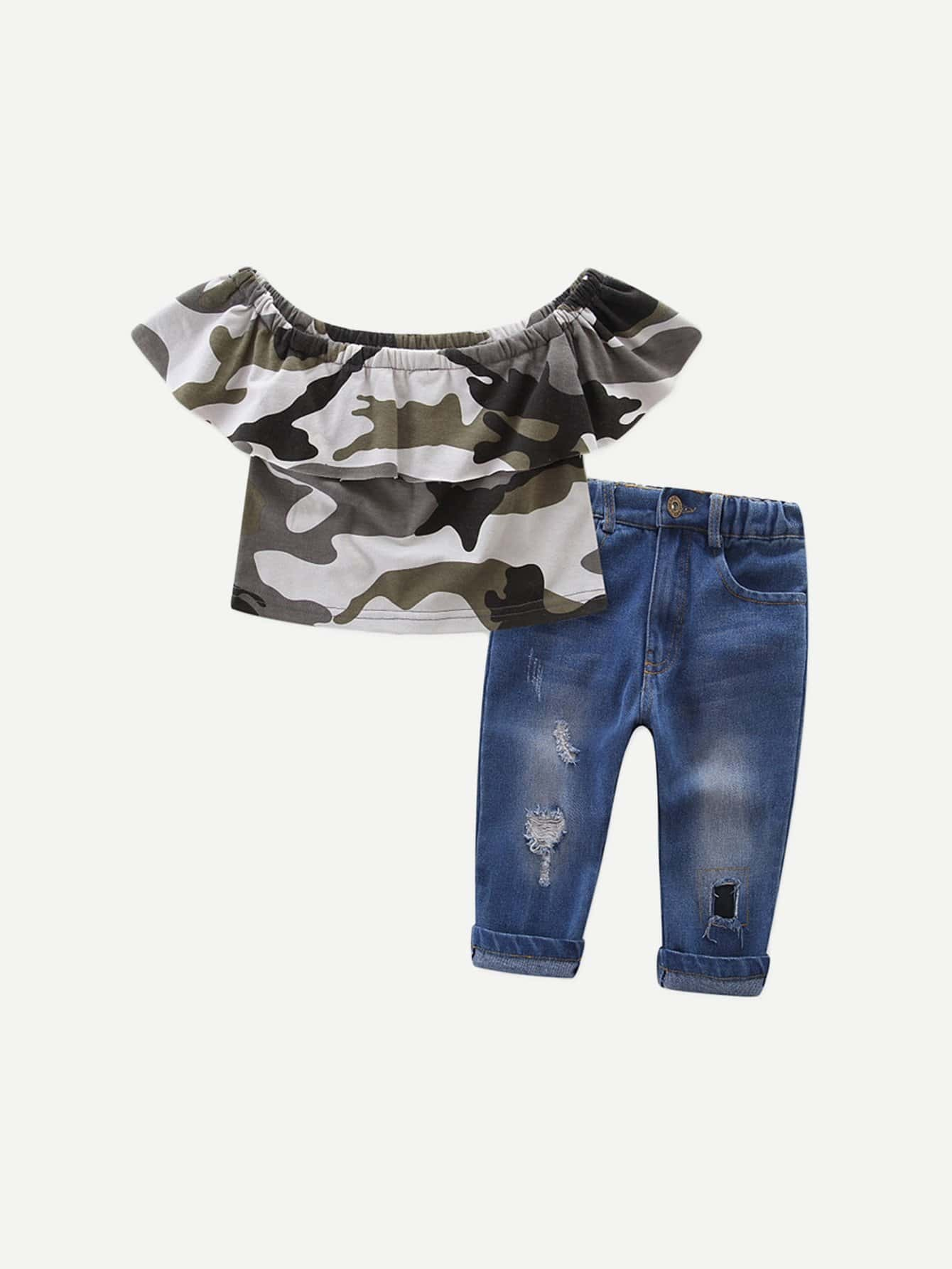 Girls Camo Ruffle Top With Jeans