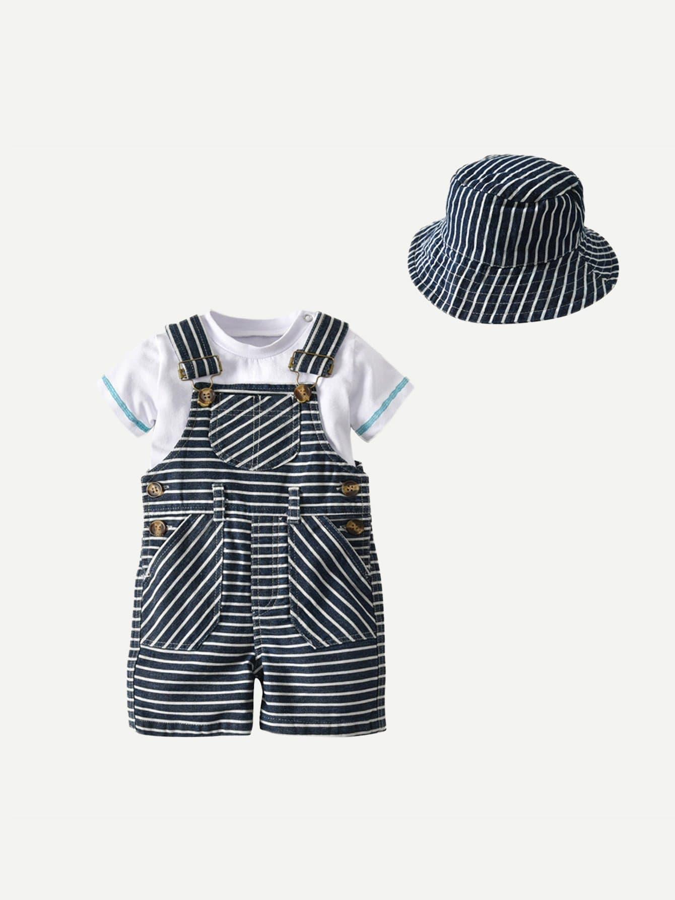 Boys Tee & Striped Overalls & Hat 3Pcs boys tee