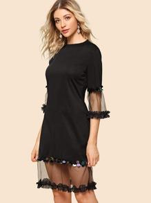 Contrast Sequin Mesh Insert Dress