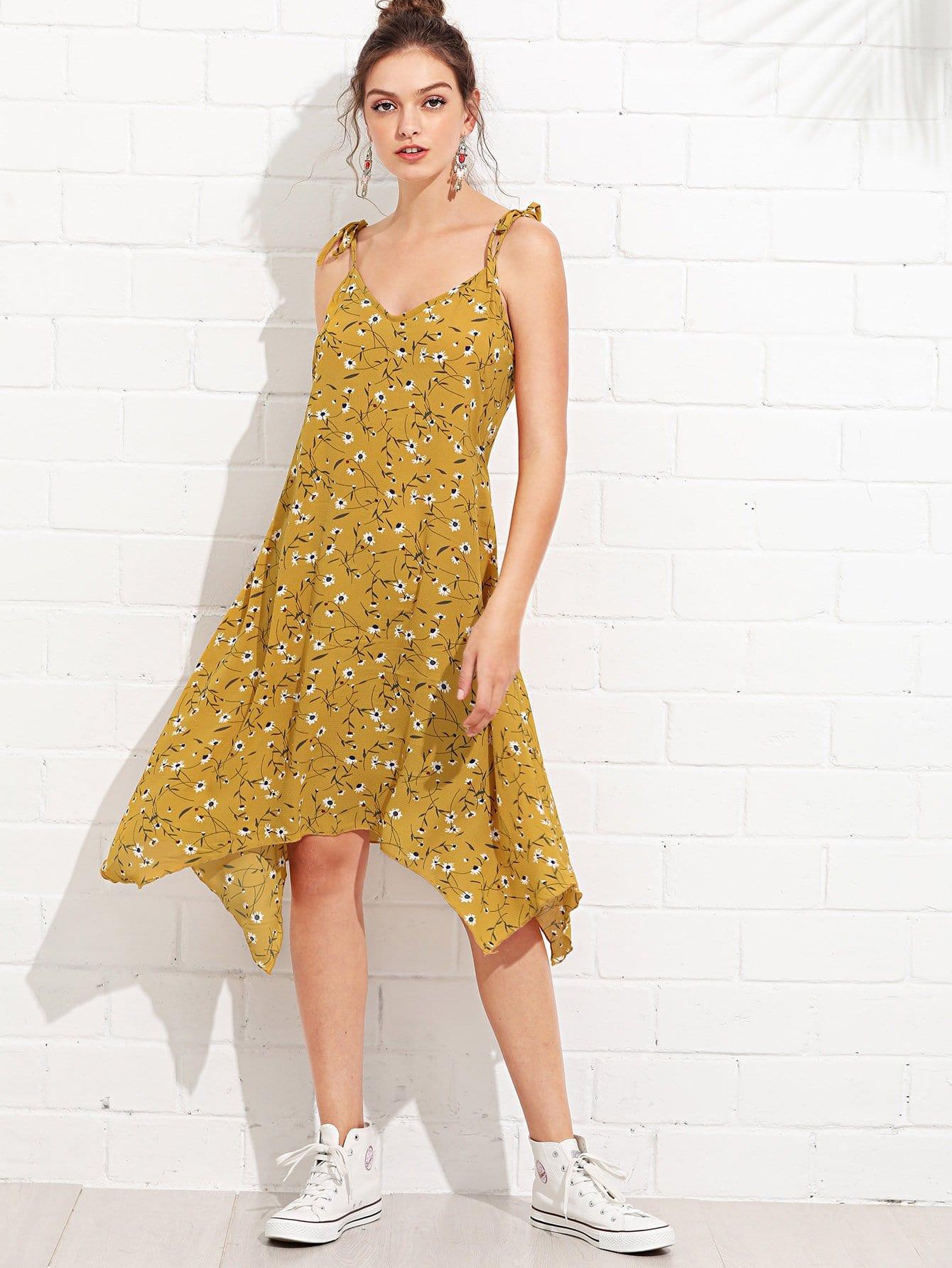 Tie Shoulder Calico Print Cami Dress calico print faux pearl detail cami dress