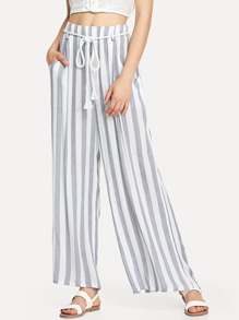 Striped Wide Leg Belted Pants