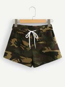 Drawstring Waist Camo Utility Shorts