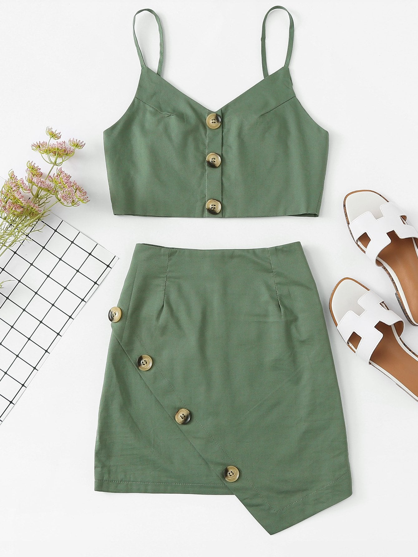 Tie Back Button Detail Cami Top With Skirt gold button detail bodycon skirt